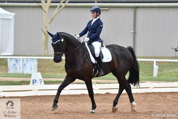 Fiona Guthrie riding HV Duke won the 5 yo Young Horse class, scoring 76.8%.