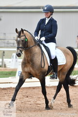Justine Greer rode the impressive imported stallion, Hilkens Nougat Cream to win both the Pony 3.2 and 3.3 Elementary Pony classes.