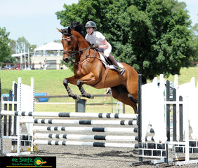 Taking a day out of the office, Claudia Studdert and Stryker Rose compete in the 1m class on the final day of the Summer Show Jumping Classic at the Sydney International Equestrian Centre.