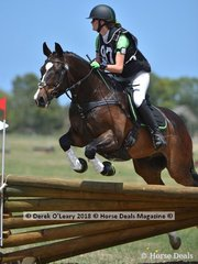 "Stephanie Holden in the Open Grade 1 riding ""Chatswood Carlos"" placing 6th with a final score of 129"