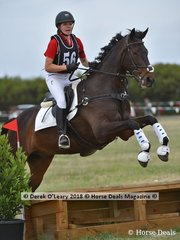 """Carrie Hatfield in the Pony Club Grade 4 riding """"Venture By Knight"""" placing 7th with a score of 36"""