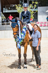 Jess Rice-Ward and 'Dusky Farm Cavalier, winners of the Triple Crown Series with Jess Jackson from Pryde's EasiFeed