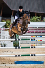 Steph Davies and ''Checkin Charlie' on their way to double clear and second place in a time of 37.470 sec