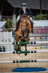 Guillermo Carballal and 'Remembrance' take a rail in the jump off in a time of 34.210 sec