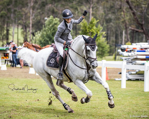 Katie Laurie and 'Casebrooke Lomond make it three from three and win the inaugural Willinga Park Jumping Grand Final Grand Prix