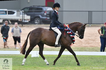Ebonie Lee, not to be outdone by her older sibling rode Karen Fisher's, 'PP Question Time' to claim the Rising Star Large Pony Championship.