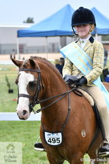Grace Baines won the class for Rider 8-10 Years and went on to be declared Supreme Champion Junior Rider.