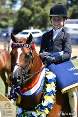 A delighted Zhoe Willison is pictured with her, 'Hamlot Park Holly's Silk' that was declared 2019 VAS Small Pony Champion.