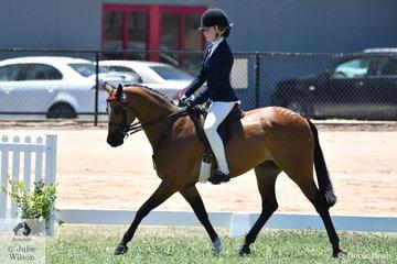 Tara Duley rode her Rosie Metherall bred, 'Burnewang Patigonoa' to take out the 2019 VAS Large Pony Championship.