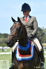 Well known exhibitor, Fiona McIntyre rode her own and Jonathon Lumsden's, 'Foxbridge' to take out the EA Newcomer Hunter Hack Championship.