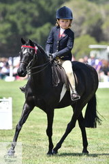 Seven year old Holly Backman rode 'Malibu Park Pollini' well, to win the EA class for Rider 6-7 Years.