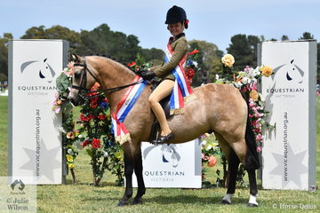 Stella Horspole rode her super successful, 'Brandy Hollow Candy Man' to claim the EA Show Hunter Pony Championship and the Junior Rider Championship.