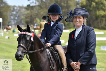 Marley Thorpe, with a bit of help from  mum, Amberley Thorpe, rode, 'Bordershow Toy Boy' to take second place in the Riding Pony Society Leading Rein Pony class.