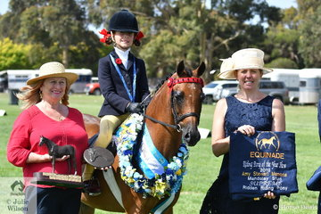 At the end of a super successful day, Annabelle Richardson rode Maddy Gin's wonderful, 'Harrington Park Symphony' to claim the Amy Stewart Memorial Award for Supreme Champion Ridden Riding Pony. Annabelle is pictured with L-R award presenter, Susie Stewart, and UK judge,  Sarah Newbould
