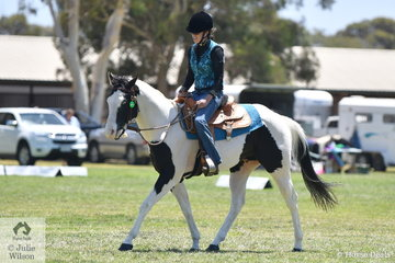 Bronwyn West is pictured aboard her successful stallion, 'Skye Blu Ris Key Invader' that competed in a number of classes, Pinto, Paint and Western.