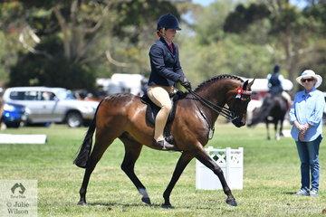 Alannah Burns rode the Uhavta Stud nomination, 'Uhavta Kensington' to claim the  Champion APSB Riding Pony of the Year award.