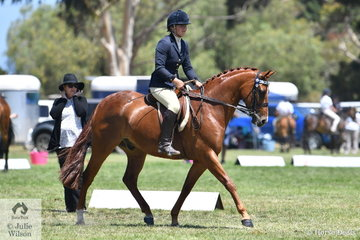 Carly Thomas rode her, 'Careal Chance Encounter' to claim the Ridden APSB Part Bred Championship.