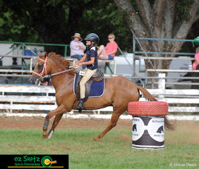 Competing in the 11 years and Under 13 Barrel Race was Charlotte Overton and her horse Josh at the 2019 Kingstown Jamboree held at the Guyra Showgrounds.
