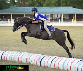 Flying over the Bonfield Bounce in the Boys 11 years and Under 13, Riley Sinclair on Mirinda Royale from Martins Gully at the 2019 Kingstown Jamboree.