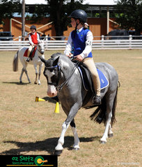 Delilah Layton on Merlin competing in the Pony Hack n.e 12.2h representing Bundarra Pony Club at the 2019 Kingstown Jamboree..