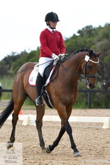 Imogen Layfield from Luther College rode Asturias in the Senior 1.1 test, on the first day of the Ellanbrae Park Victorian Youth Dressage Championships.