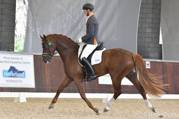 International dressage rider, Brett Parbery is pictured aboard Terry Snow's imported stallion, 'Willinga Park Fangio' during round one of the Four Year Old Young Dressage Horse class.