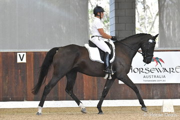 Vanessa Griffiths rode the Victorian bred, 'Mayfield Three Wishes' to earn 78.80% in round one of the Four Year Old Young Dressage Horse class.