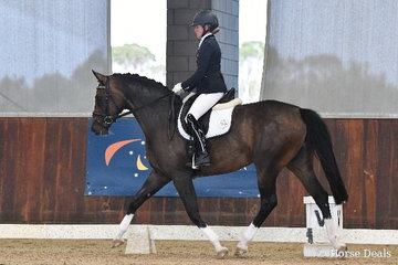 Cassia Montgomery rode, 'Heathmont For Fun M' to earn 73.60% in round one of the Four Year Old Young Dressage Horse class.