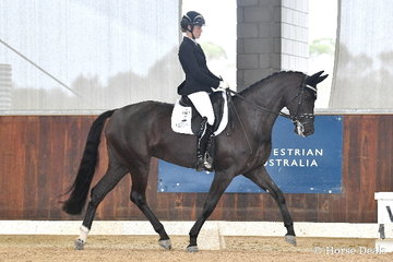 Charlie Welsh rode 'MSJ Tia Fortuna' in the 5yo Young Horse Round 1 with Round Two tomorrow.