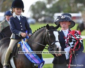 "Champion Show Hunter Leading Rein Pony, ""Picturesque Prince"" ridden by Alexandra Bowen, exhibited by Sandra Bowen"