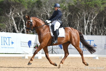 Sarah Faraway rode 'MW Rotsong' to take second place in the FEI CDN-Individual Test with 65.78%.