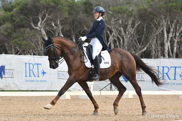 Brooke Mance is pictured aboard her, 'Callum Park Freya' during the FEI CDN-Y Individual Test.