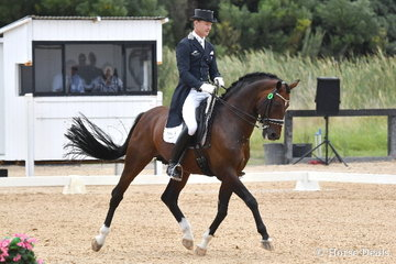 Brett Parbery rode the stallion, 'Sky Diamond' to win the FEI Intermediate 1 CDN with 72.84%.
