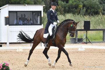 Brett Parbery rode the stallion, 'Sky Diamond' to win the FEI Intermediate 1 CDN with 72.84%.