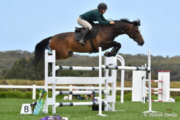 It is good to see Jess Embling-Kiernan back in the saddle and she is pictured aboard her, 'Helmsworth' during the Flexible Fit Future Stars class on day two of the 2019 Boneo Classic.