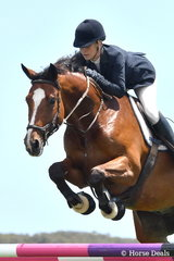 Sarah McMillan from NSW jumped a good four penalty round aboard her, 'Rafiki' during round one of the Flexible Fit Future Stars class.
