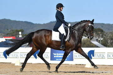 Holly Cutler is pictured during the IRT Grand Prix CDI-WLF riding her, 'Diva Royale'.