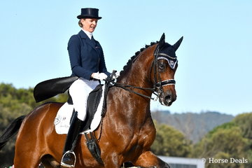 Gitte Donvig is pictured aboard her mother, Mary Hanna's beautiful imported gelding, 'Sancette' that took third place in the IRT Grand Prix CDI-WLF.