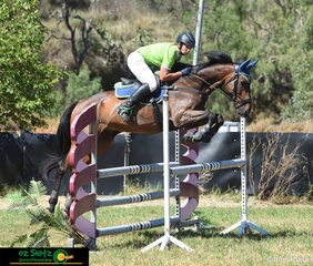 Competing in the Ladies 1.04m Class at the Australia Day Show Jumping Championships held at Towoomba was Jaime Page and War Dragon.