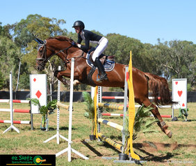 With great technique, Miss Salubrious and Emily Patterson cruise around the 1.05m AM5 track at the Australia Day Show Jumping Championships held in Toowoomba.