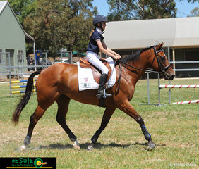 Trotting out of the arena with a big smile on her face was Jessica Angus after she completed a great 70cm show jump round on Majorette at Toowoomba.