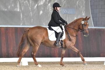 Lauren French from South Australia is pictured aboard the charming, 'Eden Eyre Mitchell' during the Equestrian Australia Para Equestrian CPEDN Grade IV Freestyle.
