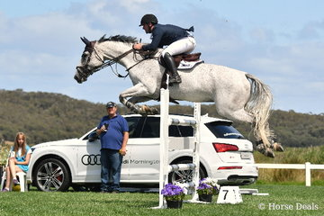 Sam Williams jumped clear and four riding the imported, 'Anssioso Z' to take sixth place in the Horseware Australia CSI*  jumping class.