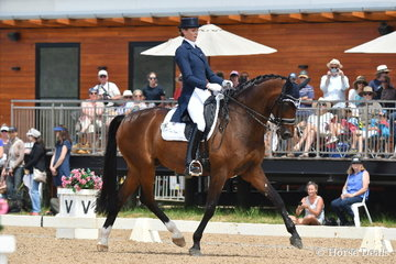 The always elegant Gitte Donvig is pictured aboard the lovely, 'Sancette' during the  IRT FEI Grand Prix CDI Australian World Cup Final Freestyle.