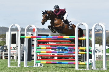 Kate Hinschen is pictured aboard, 'Finch Farm Cadel' during the Robertson-Smith Partners Equine Vets World Cup Qualifier.