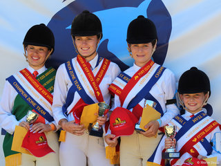 PCANSW State Show Riding Championships Team winners zone 15 riders Chloe Pacey Smith, Charlee Anthony, Ivy Pointen Wales and Anastasia Blanch