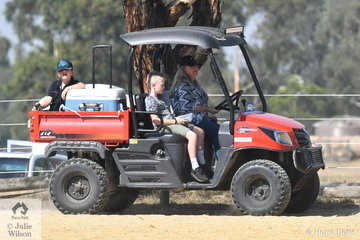 Linda Brooks is pictured at the wheel of the Yarra Glen Show Uber Eats vehicle. Cold drinks were popular and orders would be taken and delivered for a variety of delicious offerings courtesy of the Yarra Glen Pony Club.