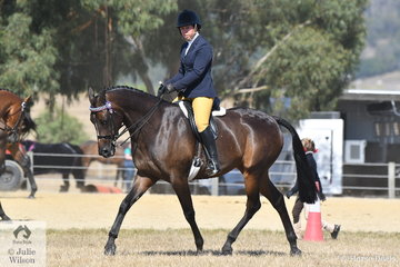 Alandi Durling rode her, 'Sienna Conchetta' to win the Ring 2 class for Hack 15-15.2hh.