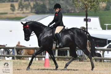 """It better be black""! Briony Randle rode, 'STR Tudor Park Starlett' to take second place in the Ring 2 class for Hack 16-16.2hh."