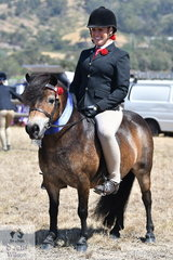 Rebecca Gerber is pictured aboard her Champion Ridden Shetland, the buckskin, 'Chesapeake Park Jelly Bean'.